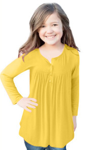 Yellow Long Sleeve Button Detail Pleated Little Girls Top