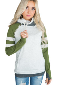 Olive Varsity Striped Sleeves Double Hooded Sweatshirt