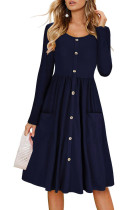 Navy Casual Button Down Long Sleeve Swing Dress