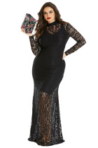 Black Plus Size High Neck Lace Fishtail Maxi Dress