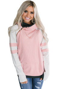 Pink Varsity Striped Sleeves Double Hooded Sweatshirt