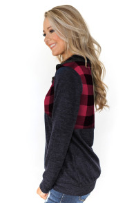 Reddish Buffalo Plaid Half Zip Up Sweatshirt