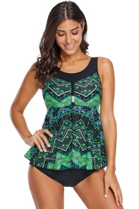 Green Vibrant Print Skirted Tankini Swim Top