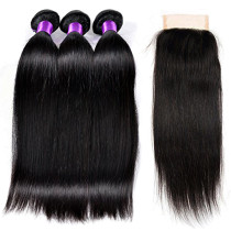 Hot Beauty Malaysian Mix Product 3pcs Hair Heave + Straight Hair Closure