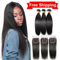 Hot Selling 9A Virgin Hair With Closure (Free part/Mid part/3 way part )
