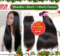 Hot sales Silky Straight 300g+closure(3bundles 18inch+14inch Closure straight hair)