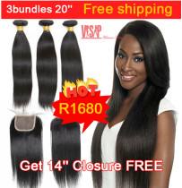 Hot Beauty Hair Product 3bundles 20inch  Straight Hair Free shipping get 14inch closure free