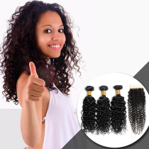 100 VIRGIN HAIR WITH CLOSURE CURLY STYLE 3+1