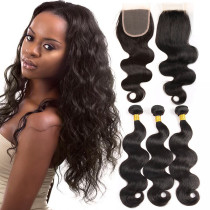 BRAZILIAN VIRGIN HAIR WITH CLOSURE BODY WAVE 3+1