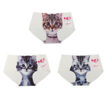 Closecret Women's Seamless 3D Cats Printing Panties(Pack of 3,white)