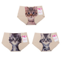 Closecret Women's Seamless 3D Cats Printing Panties(Pack of 3,beige)