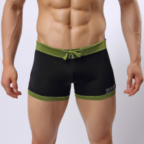 Men's Sexy Boxer Brief Solid Color Swimwear Breathable Underwear