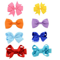Baby Girl's Hair Clips Bowknot Anti-slip Clips Head Accessories for Toddler Kid's Knotted Headwear (Pack of 8)