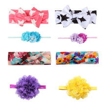 Baby Girl's Headbands Chiffion Flower Head Accessories for Toddler Kid's Turban Knotted Headwear  (Pack of 8)