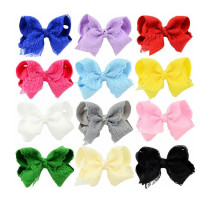 Baby Girl's Hair Clips Bowknot Anti-slip Clips Head Accessories for Toddler Kid's Knotted Headwear (Pack of 12)