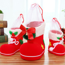3pcs Christmas Candy Boots Santa gift Holder Basket for Christmas Tree Decoration(3 Different Sizes)