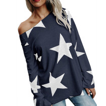 Navy Long Sleeve Star Bright T-shirt