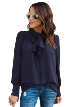 Navy Blue Demure Tie Neck Blouse for Women