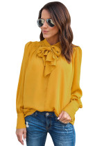 Yellow Demure Tie Neck Blouse for Women