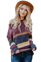 Red Horizons Colorblock Striped Sweater