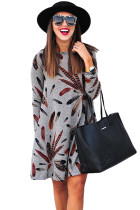 Gray Feather Graphic Pocket Tunic Dress