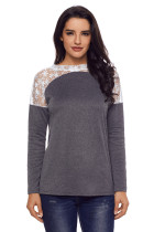 Split Effect Back Lace Insert Charcoal Long Sleeve Top