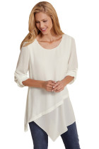 White Roll-tab Sleeve Asymmetric Hemline Crepe Blouse