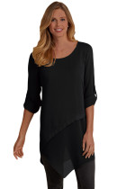 Black Roll-tab Sleeve Asymmetric Hemline Crepe Blouse