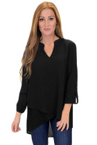 Black Asymmetric Hemline Roll Tab Sleeve Blouse
