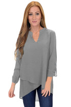 Grey Asymmetric Hemline Roll Tab Sleeve Blouse