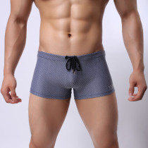 Men Mesh Shorts Flat Breathable U Convex Pouch Boxer Briefs Underpants