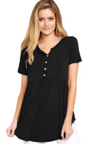 Closecret Black Button Front Babydoll Flowy Tee Top with Pleats
