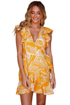 Closecret Mustard Leaf Vein Print Ruffle and Wrap Short Summer Dress