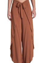 Closecret Orange Tie Front Tulip Slit Palazzo Pants