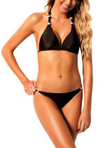Closecret Black 2pcs Knot Detail Bikini Swimsuit
