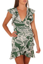 Closecret Green Leaf Vein Print Ruffle and Wrap Short Summer Dress