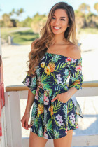 Closecret Navy Tropical Off Shoulder Romper