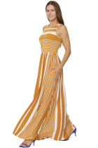 Closecret Mustard Striped Pocket Style Maxi Tank Dress