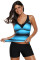 Closecret Blue Black Ombre Print Strappy Tankini and Short Set