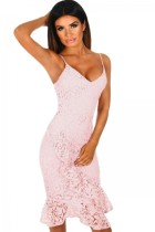 Closecret Pink Crochet Frill Midi Dress