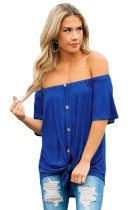 Closecret Blue Off the Shoulder Button Top