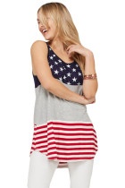 Closecret Gray Sleeveless Colorblock American Flag Print Tunic Top