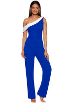Closecret Navy White Colorblock One-shoulder Jumpsuit