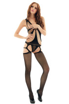 Closecret Black Daring Cutout String Net Bodystocking