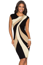Closecret Taupe Accents Colorblock Geometric Pattern Tube Dress