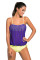 Closecret Purple Lace Overly 2pcs Bandeau Tankini Swimsuit Briefs