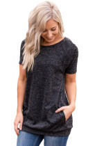 Closecret Charcoal Black Heathered Short Sleeve Pocket Tee