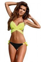 Closecret Bright Yellow Wrap Front Halter Bikini Tie Side Bottom Swimsuit