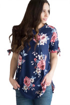 Closecret Navy Floral Print Tie Detail Short Sleeve Blouse