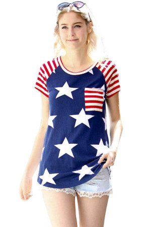 Closecret Striped Short Sleeves Red Navy American Flag T-shirt